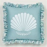 Ocean Tides II Embroidered Fringed Pillow Aqua 18 Square