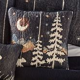 Moonlit Bear Wilderness Quilted Pillow Black 18 Square