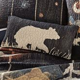 Moonlit Bear Quilted Pillow Black Rectangle