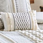 Imani Embroidered Fringed Pillow Light Almond Rectangle