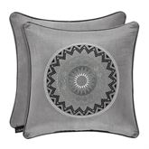 Brandon Embroidered Accent Pillow Silver 18 Square