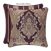 Amethyst Reversible Piped Pillow Plum 20 Square
