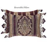 Amethyst Bead Fringe Reversible Pillow Plum Rectangle