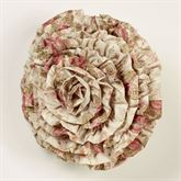 Heirloom Rose Ruffled Pillow Fawn Round