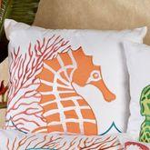 Tropic Escape Seahorse Pillow White 18 Square