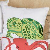 Tropic Escape Sea Turtle Pillow White 18 Square