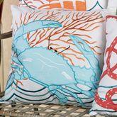 Tropic Escape Crab Pillow White 18 Square