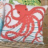Tropic Escape Octopus Pillow White 18 Square