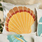 Washed Ashore Seashell Pillow Linen 18 Square