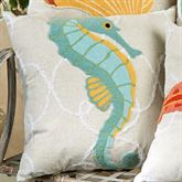 Washed Ashore Seahorse Pillow Linen 18 Square