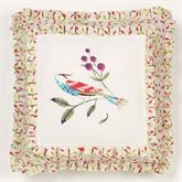 Sweet Tweet Embroidered Pillow Light Cream 18 Square