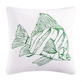 Reef Point Embroidered Fish Pillow White 18 Square