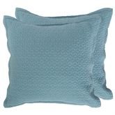 Lucianna Quilted European Sham Set Aqua Set of Two