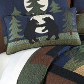 Bear Dance Quilted Pillow Jungle Green Rectangle