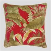 Captiva Tropical Tufted Pillow Dark Red 16 Square