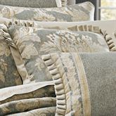 Rialto Damask Flanged Pillow Slate Gray 20 Square