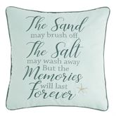 Driftwood Shores Memories Embroidered Pillow Aqua Mist 18 Square