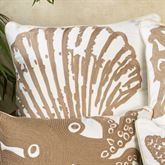 Scallop Shell Embroidered Pillow White 18 Square