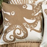 Octopus Embroidered Pillow White 18 Square