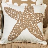 Starfish Embroidered Pillow White 18 Square