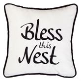 Blackberry Nest Embroidered Pillow Off White 18 Square