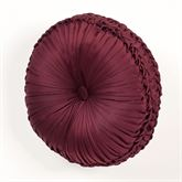Camelot Tufted Pillow Burgundy Round