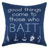 Anthony Navy Bait Embroidered Pillow 18 Square