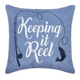 Anthony Reel Embroidered Pillow Cerulean Blue 18 Square