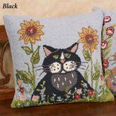 Spring Black Cat Decorative Pillow 18 Square