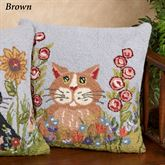 Spring Brown Cat Decorative Pillow 18 Square