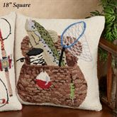 Fishing Basket Square Decorative Pillow Multi Warm 18 Square