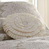 Brighton Pleated Tufted Pillow Light Cream Round