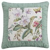 Palace Green Framed Piped Pillow Ivory 18 Square