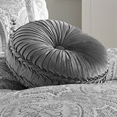 Colette Silver Tufted Pillow Round