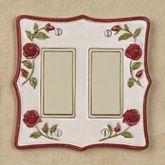 Vining Rose Double Dimmer Rocker Red