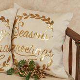 Seasons Greetings Wreath Accent Pillow Light Cream 16 Square