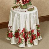 Christmas Cardinals Round Tablecloth Ivory 70 Round