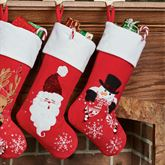 Frosty Christmas Stocking Red