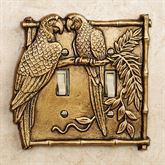 Parrot Double Switchplate Antique Brass