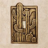Cactus Garden Single Switchplate Antique Brass