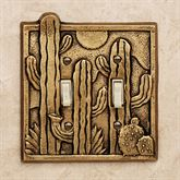 Cactus Garden Double Switchplate Antique Brass