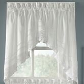 Crochet White Swag Valance Pair White 58 x 30