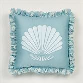 Ocean Tides Fringed Pillow Cerulean Blue 18 Square