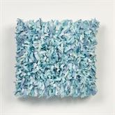 Ocean Tides Shaggy Pillow Cerulean Blue 16 Square