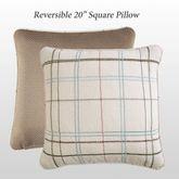 Izabelle Reversible Plaid Pillow Beige 20 Square