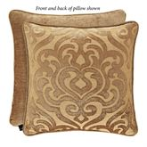 Sicily Gold Scrolls Piped Pillow 20 Square