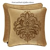 Sicily Gold Embroidered Medallion Pillow 20 Square