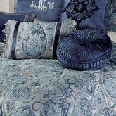 Yorkshire Pleated Tufted Pillow Dark Blue Round