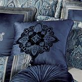 Yorkshire Embroidered Pillow Dark Blue 18 Square