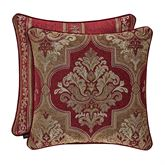 Maribella Reversible Damask Piped Pillow Ruby 20 Square